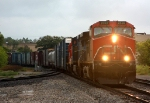 CN 2539 leads an IC Dash 8 and a GTW Geep east